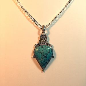 Jewelry - Vintage Sterling Silver Turquoise Necklace #58B